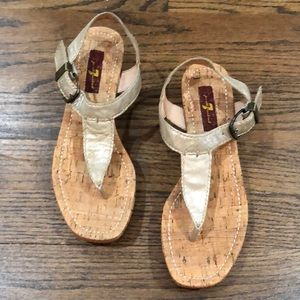 NWT 7 for All Mankind gold wedge sandals. Size 6.